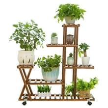 Houten plant Flower display stand hout pot rek opslag Rack  met wiel