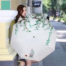 Creatieve frisse stijl drie-Vouw de kat Buurjongen patroon Silver Tape Anti Ultraviolet zonnescherm paraplu