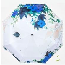 Creatieve frisse stijl drie vouwen In Flower Butterfly dans patroon zilveren Tape Anti Ultraviolet zonnescherm paraplu