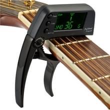 Professionele gitaar Tuner Clip  Loftstyle chromatische Clip-on Tuner met roterende LCD scherm Light Display één gitaar Capo(Black)