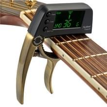 Professionele gitaar Tuner Clip  Loftstyle chromatische Clip-on Tuner met roterende LCD scherm Light Display één gitaar Capo(Bronze)