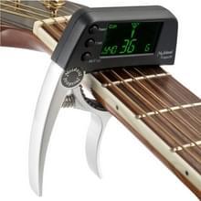 Professionele gitaar Tuner Clip  Loftstyle chromatische Clip-on Tuner met roterende LCD scherm Light Display één gitaar Capo(Silver)