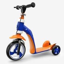 2 op de 1 kinderen Multi-functionele Driewielige Walker Scooter (Donkerblauw)