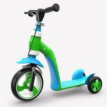 2 op de 1 kinderen Multi-functionele Driewielige Walker Scooter (Groen)