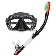 Yoogan volwassen volledige droge masker ademhaling buis zwemmen glas duikuitrusting pak  kan overeenkomen met Myopic lens (zwart)