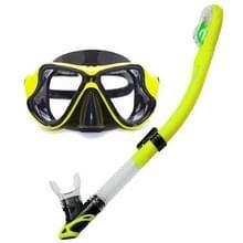 Yoogan volwassen volledige droge masker ademhaling buis zwemmen glas duikuitrusting pak  kan overeenkomen met Myopic lens (geel)