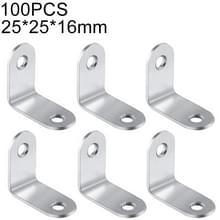 100 stuks RVS 90 graden hoek beugel  hoek brace joint beugel bevestiger meubilair kabinet schermen muur (25mm)