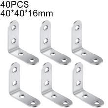 40 stuks RVS 90 graden hoek beugel  hoek brace joint beugel bevestiger meubilair kabinet schermen muur (40mm)