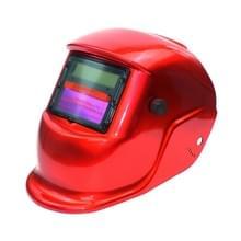 Solar automatische variabele licht elektrisch lassen beschermende masker lassen helm (rood)