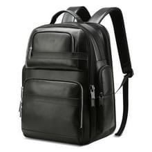 Bopai 851-019811 grote capaciteit anti-diefstal waterdichte Leathar rugzak laptop Tablet tas voor 15 6 inch en lager  met USB-oplaad poort (zwart)