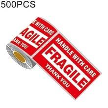 500 stuks zelfklevende buitenste vak Engels waarschuwing Sticker fragiele Label  maat: 76x127mm