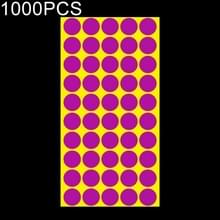 1000 PCS ronde vorm zelfklevende kleurrijke Mark sticker Mark label (paars)