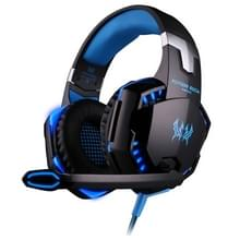 KOTION elke G2000 overmatige oor spel Gaming hoofdtelefoon hoofdtelefoon Koptelefoon hoofdband met Mic Stereo Bass LED licht voor PC Gamer  Kabel Lengte: ongeveer 2.2 m (blauw + zwart)
