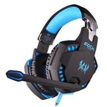 KOTION EACH G2100 Vibration Function Professional Gaming Headphone Games Headset with Mic Stereo Bass LED Light for PC Gamer Cable Length: About 2.2m(Blue + Black)
