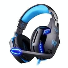 KOTION EACH G2200 USB 7.1 Surround Sound Vibration Game Gaming Headphone Computer Headset Earphone Headband with Microphone LED Light Cable Length: About 2.2m(Blue + Black)