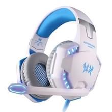 KOTION elk G2200 USB 7.1 Surround geluid trillingen Game Gaming hoofdtelefoon Computer hoofdtelefoon Koptelefoon hoofdband met microfoon LED licht  Kabel Lengte: over 2.2m((wit) + blauw)