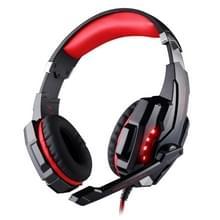 KOTION elk G9000 USB 7.1 Surround Sound Version spel Gaming hoofdtelefoon Computer hoofdtelefoon Koptelefoon hoofdband met microfoon LED licht  Kabel Lengte: ongeveer 2.2 m (rood + zwart)