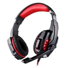 KOTION elk G9000-3.5mm-spel Gaming hoofdtelefoon hoofdtelefoon Koptelefoon hoofdband met microfoon LED licht voor Laptop / Tablet / mobiele telefoons  Kabel Lengte: ongeveer 2.2 m (rood + zwart)