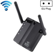 300Mbps Wireless-N Range Extender WiFi Repeater Signal Booster Network Router with 2 External Antenna  EU Plug(Black)