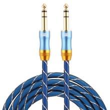 EMK 6.35 mm male naar Male 4 sectie vergulde plug grid nylon gevlochten audio kabel voor Speaker versterker mixer  lengte: 2m (blauw)
