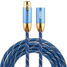 EMK XLR male naar vrouwelijk vergulde plug grid nylon gevlochten kanon audio kabel voor XLR-aansluiting apparaten  lengte: 2m (blauw)