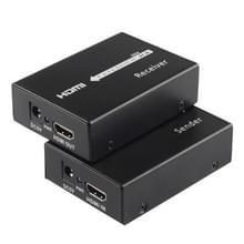 HDMI Extender (zender & ontvanger) over een enkele CAT5e/CAT6 Kabel met IR  verzend afstand: 60 meter (zwart)
