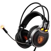 SADES R1 USB Gaming Headset 7.1 kanaals bedrade Hoofdtelefoon met Afstandsbediening + Microfoon + verlichting voor PC  Laptop (zwart + Oranje)