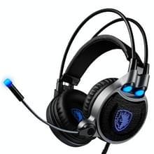 SADES R1 USB Gaming Headset 7.1 kanaals bedrade Hoofdtelefoon met Afstandsbediening + Microfoon + verlichting voor PC  Laptop (zwart + blauw)