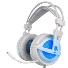 SADES A6 USB Gaming Headset 7.1 kanaals bedrade Hoofdtelefoon met Afstandsbediening + Microfoon + verlichting voor PC  Laptop wit