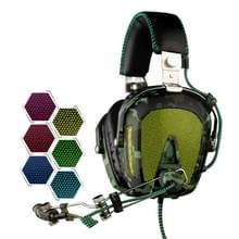 SADES A90 USB Gaming Headset 7.1 kanaals bedrade Hoofdtelefoon met Afstandsbediening + Microfoon + verlichting voor PC  Laptop (zwart + leger groen)