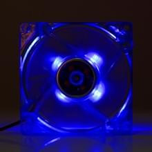 8025 4 Pin DC 12V 0.18A Computer hoesje Cooler Cooling Fan met LED licht, Afmeting: 80x80x25mm (donker blauw)