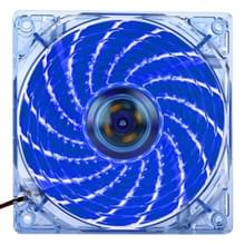 12025 4 Pin DC 12V 0.30A Computer hoesje Cooler Cooling Fan met LED licht, Afmeting: 120x120x25mm (blauw)