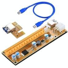 VER006C USB 3.0 PCI-E Express 1 x Extender Riser Card Adapter 6 Pin Power kabel geschikt met 1 x  4 x  8 x 16 x PCI-E-sleuf van het moederbord met 60cm Cable(Yellow)