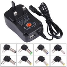 UK Plug Universal 30W Power Wall Plug-in Adapter with 5V 2.1A USB Port  Tips: 8 PCS  Cable Length: About 1.2m