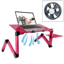 Draagbare 360 graden verstelbaar opvouwbaar aluminiumlegering bureaustandaard met Cool Fans & muismat voor Laptop / Notebook (Magenta)