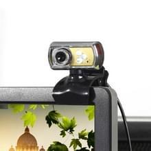 A7170 360 graden draaibare 12MP HD WebCam USB draad Camera met microfoon & 3 LED verlichting voor Desktop Skype Computer PC Laptop  kabel lengte: 1.45m (geel)