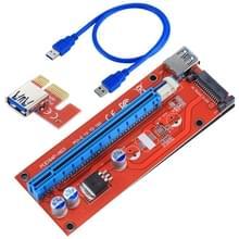 USB 3.0 PCI-E Express 1 x tot 16 x PCI-E Extender Riser Card Adapter 15 pins SATA macht ontmoet USB-Kabel