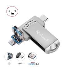 Richwell 3 in 1 64G Type-C + Micro USB + USB 3.0 Metalen flashschijf met OTG-functie(Zilver)