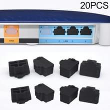 20 PCS Siliconen Anti-Dust Pluggen voor RJ45 Port (Zwart)