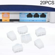 20 PCS Siliconen Anti-Dust Pluggen voor RJ45-poort (transparant)