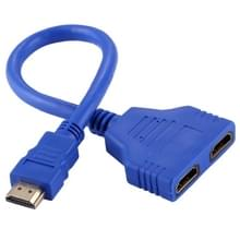 30cm HDMI Male to Dual HDMI Female 1.4 Version Connector Adapter Cable (Blue)
