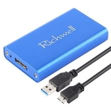 Richwell SSD R15-SSD - 60GB 60GB 2.5 inch mSATA naar USB3.0 supersnelle Interface mobiele harde schijf Box(Blue)