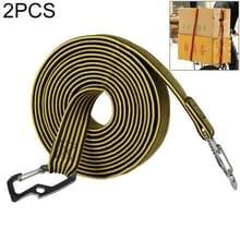 2 PCS 2m Elastic Strapping Rope Packing Tape voor fietsmotorfiets achterbank met haak (geel)