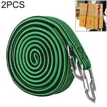 2 PCS 4m Elastic Strapping Rope Packing Tape voor fiets motorfiets achterbank met haak (groen)