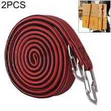 2 PCS 4m Elastic Strapping Rope Packing Tape voor fiets motorfiets achterbank met haak (rood)