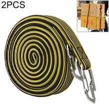 2 PCS 4m Elastic Strapping Rope Packing Tape voor fietsmotorfiets achterbank met haak (geel)