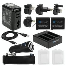 PULUZ 13-in-1 toebehoren Lader totale Combo Kits (muur Lader Set + batterijen + Kabel + auto Lader + Batterij Lader + Mesh tas) voor GoPro HERO4