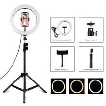 PULUZ 1 1m Statief Mount +10 2 inch 26cm USB 3 Modes Dimbare Dubbele kleurtemperatuur LED Curved Diffuse Light Ring Vlogging Selfie Fotografie Video Lights with Phone Clamp (Zwart)