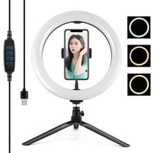 PULUZ Desktop Tripod Mount + 10 2 inch 26cm USB 3 Modes Dimable Dual Color Temperature LED Curved Diffuse Light Ring Vlogging Selfie Photography Video Lights with Phone Clamp (Black) PULUZ Desktop Tripod Mount + 10.2 inch 26cm USB 3 Modes Dimable Dual Col