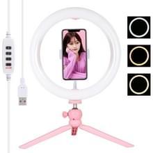 PULUZ 10 2 inch 26 cm licht + desktop statief mount USB 3 modi dimbare dubbele kleur temperatuur LED gebogen diffuse lichtring vloggen Selfie fotografie videolichten met telefoonklem (roze)